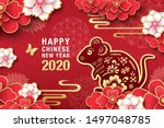 2020 chinese new year  year of... | Shutterstock .eps vector #1497048785