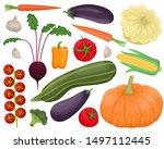set of 16 autumn vegetables.... | Shutterstock .eps vector #1497112445