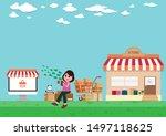 online stores concept vector...   Shutterstock .eps vector #1497118625