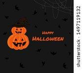 happy halloween banner with... | Shutterstock .eps vector #1497119132