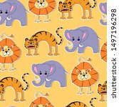 cartoon seamless colorful funny ...   Shutterstock .eps vector #1497196298