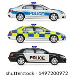 Police Cars Side View Vector...