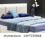 designer bedroom interior blue... | Shutterstock . vector #1497235868