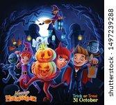 halloween night illustration... | Shutterstock .eps vector #1497239288