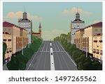 avenue city  a street laden... | Shutterstock .eps vector #1497265562