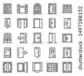 Entrance icons set. Outline set of entrance vector icons for web design isolated on white background