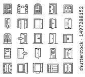 Entrance Icons Set. Outline Se...