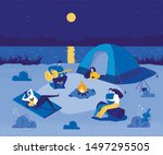 people in touristic camp near...   Shutterstock .eps vector #1497295505