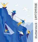 climbers group reaching peak...   Shutterstock .eps vector #1497295508