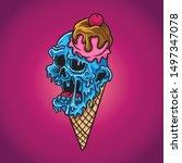 sweet ice cream zombie vector   Shutterstock .eps vector #1497347078