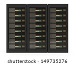 Group of Modern Server Rack isolated on white background - stock photo