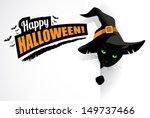 black cat happy halloween... | Shutterstock .eps vector #149737466