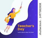 super teacher flying vector... | Shutterstock .eps vector #1497382838