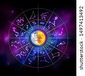 horoscope wheel with star... | Shutterstock .eps vector #1497413492