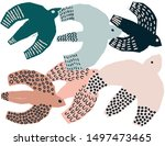 set of different flying birds... | Shutterstock .eps vector #1497473465