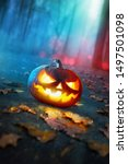 Halloween Pumpkins Glowing In...