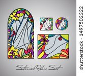 floral bright stained glass... | Shutterstock .eps vector #1497502322