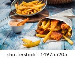 fish   chips served in the... | Shutterstock . vector #149755205