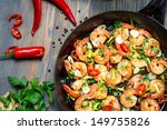 Shrimps Fried On Pan With Fres...