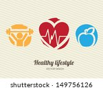 healthy lifestyle over lineal... | Shutterstock .eps vector #149756126