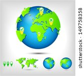 world map. globe. earth. planet.... | Shutterstock . vector #149758358