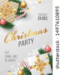 christmas party poster template ... | Shutterstock .eps vector #1497610895