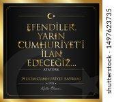 29 ekim cumhuriyet bayrami... | Shutterstock .eps vector #1497623735