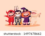 group cute childrens disguised... | Shutterstock .eps vector #1497678662