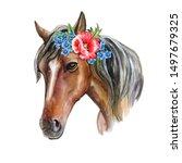 Horse Portrait In Crown  Floral ...
