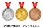 set of gold  silver and bronze... | Shutterstock .eps vector #1497761318
