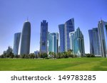 Stock photo the skyline of the modern and high rising city of doha in katar middle east 149783285