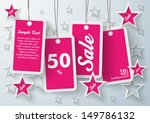 four purple price stickers with ... | Shutterstock .eps vector #149786132