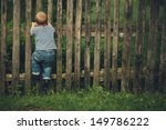 little funny boy with fence... | Shutterstock . vector #149786222