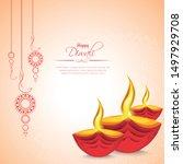 happy diwali festival with oil... | Shutterstock .eps vector #1497929708