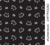 cat head isolated on black... | Shutterstock .eps vector #1497953282