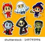 cute halloween stickers set | Shutterstock .eps vector #149795996