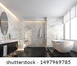Luxury Bathroom With Black...