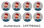 male character facial emotions. ... | Shutterstock .eps vector #1497984662