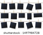 photos on clothespins. vintage... | Shutterstock .eps vector #1497984728