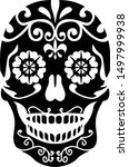 sugar skull black and white... | Shutterstock .eps vector #1497999938