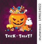 halloween trick or treat party... | Shutterstock .eps vector #1498114022