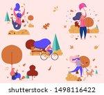 Stock vector outdoor activities in autumn flat vector design set girls in a park 1498116422