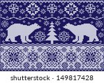 knitted ornament with bears.... | Shutterstock .eps vector #149817428