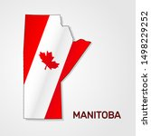 Map of Manitoba combined with Canada flag - Vector