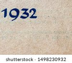 The year 1932 as printed in blue on the dust jacket of a journal published that year