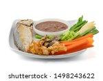 Stock photo fried mackerel with shrimp paste sauce and vegetable set nam prik kapi pla too isolated on white 1498243622