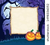 halloween night background with ... | Shutterstock .eps vector #1498336052