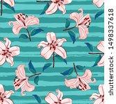 lilies flowers seamless pattern.... | Shutterstock .eps vector #1498337618