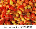 Orange red cherries at the farmers market in France - stock photo