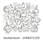 school  education concept. hand ... | Shutterstock .eps vector #1498371155